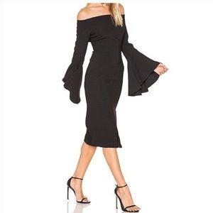 NWT Bardot Solange Off the Shoulder Black Cocktail Dress